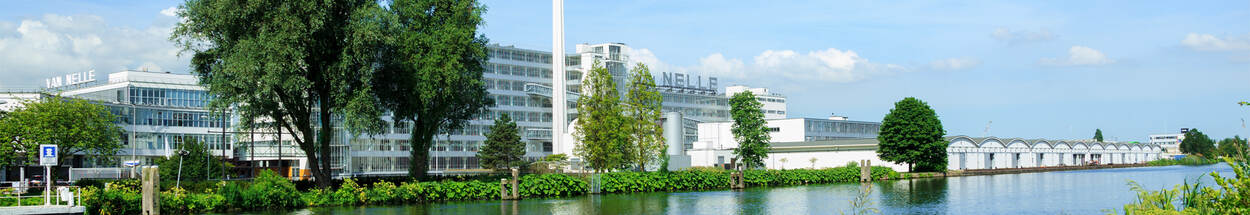 The Van Nelle Factory in Rotterdam; with factory garden and adjacent to water