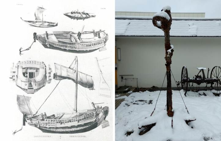 Drawing of japanese vessel and picture of a japanese four-armed anchor